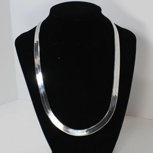 Jewelry - Sterling Herringbone Italy Necklace 10mm 20in 925